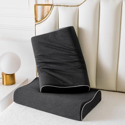 2019新款天然乳膠枕A品針織純棉條時尚黑60*40 時尚黑曲線波浪款