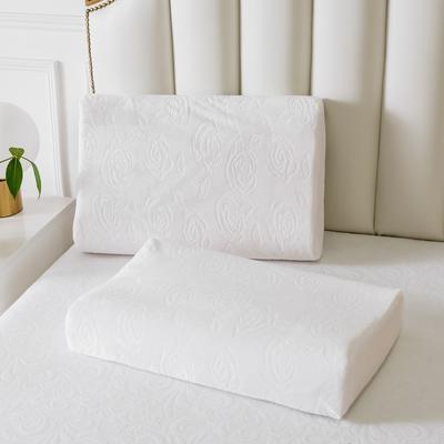 白色水晶绒玫瑰乳胶枕60*40 白色水晶绒玫瑰曲线波浪款