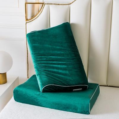 宝石绿水晶绒乳胶枕60*40 宝石绿水晶绒曲线波浪款