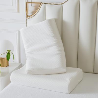 2019新款天然乳膠枕A品零壓力針織款64*40 白色回形格曲線波浪款