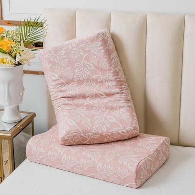 全棉树叶乳胶枕60*40 粉色树叶曲线波浪款