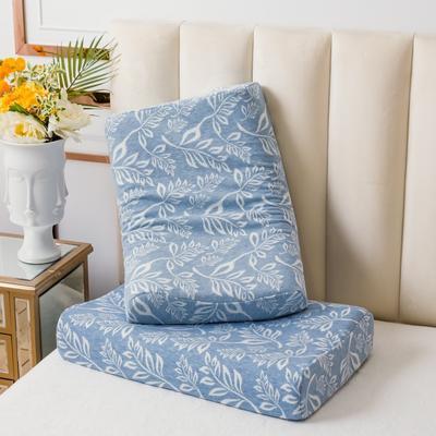 全棉樹葉乳膠枕60*40 藍色純棉樹葉曲線波浪款