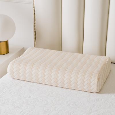 全棉長方格系列乳膠枕60*40 米黃按摩款