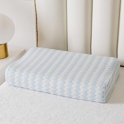 全棉長方格系列乳膠枕60*40 天藍曲線波浪款