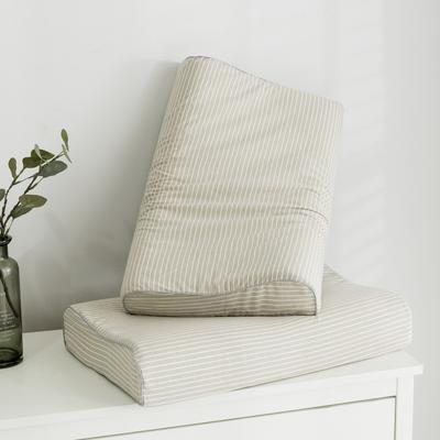 2019新款水洗棉系列A品乳膠枕60*40 卡其條紋曲線波浪款