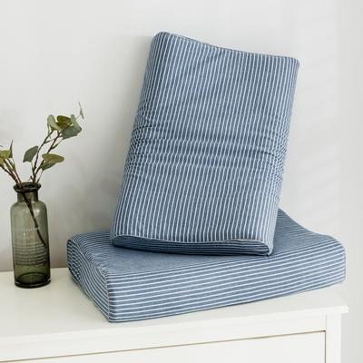 2019新款水洗棉系列A品乳膠枕60*40 水洗藍條紋曲線波浪款
