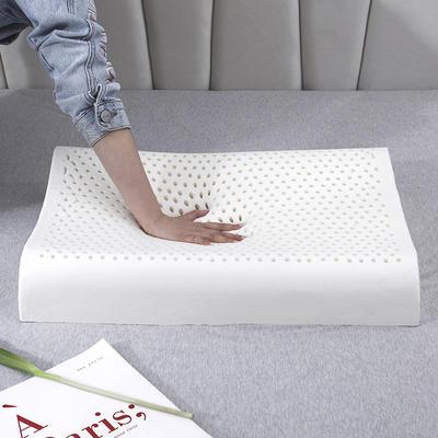 新款新款A品天然乳胶枕 纯棉立体方格-60x40cm/个· 白