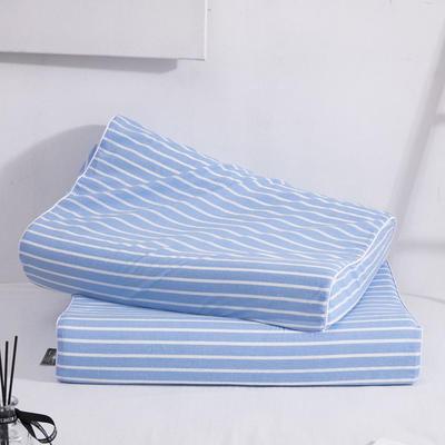 新款纯棉水洗细条纹乳胶枕-60*40cm/个 天蓝