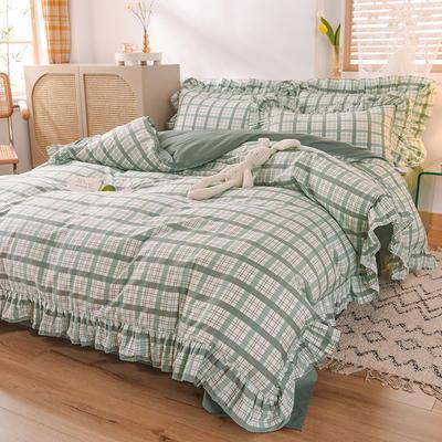 2020新款北欧风全棉网红格子纯棉韩版四件套 1.8m床单款四件套 布丁绿