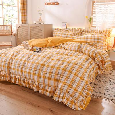 2020新款北欧风全棉网红格子纯棉韩版四件套 1.8m床单款四件套 柠檬格黄