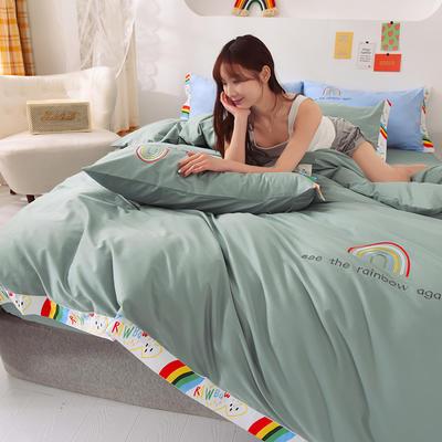 泽西 2021新款40支全棉刺绣彩虹四件套 床单床笠被套三件套 1.2m床单款三件套 彩虹-豆绿