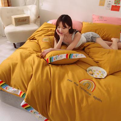 泽西 2021新款40支全棉刺绣彩虹四件套 床单床笠被套三件套 1.2m床单款三件套 彩虹-姜黄