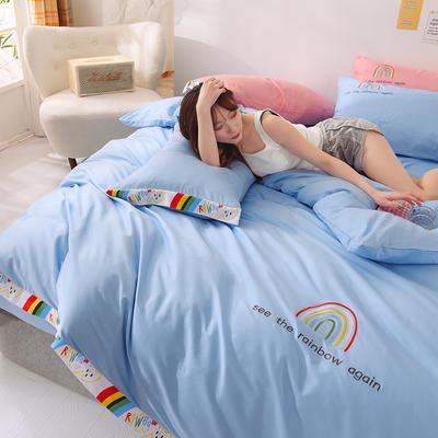 泽西 2021新款40支全棉刺绣彩虹四件套 床单床笠被套三件套 1.2m床单款三件套 彩虹-天空蓝