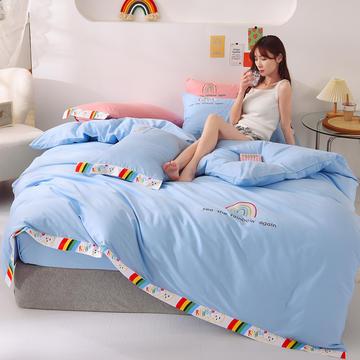泽西 2021新款40支全棉刺绣彩虹四件套 床单床笠被套三件套