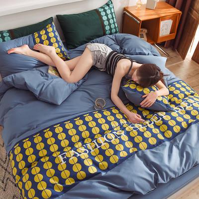 泽西家纺 2021新款40支纯棉全棉波点拼接四件套床单床笠三件套 1.2m床单款三件套 波点宾利蓝