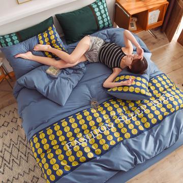 泽西家纺 2021新款40支纯棉全棉波点拼接四件套床单床笠三件套