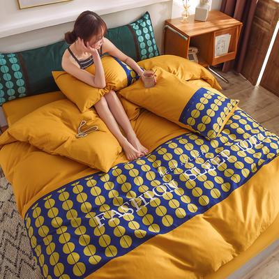 泽西家纺 2021新款40支纯棉全棉波点拼接四件套床单床笠三件套 1.2m床单款三件套 波点姜黄色