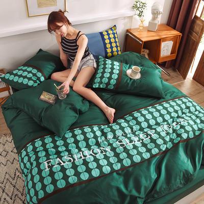 泽西家纺 2021新款40支纯棉全棉波点拼接四件套床单床笠三件套 1.2m床单款三件套 波点墨绿色