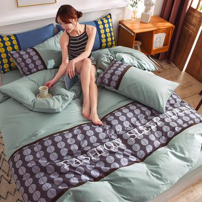泽西家纺 2021新款40支纯棉全棉波点拼接四件套床单床笠三件套 1.2m床单款三件套 波点浅豆绿