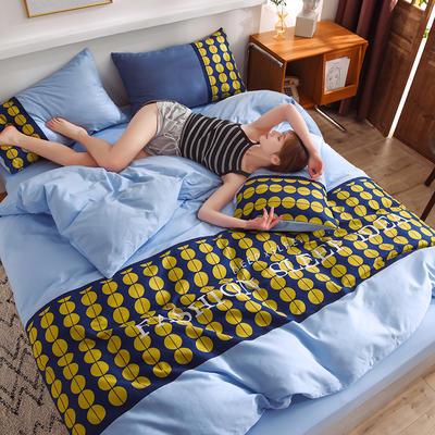 泽西家纺 2021新款40支纯棉全棉波点拼接四件套床单床笠三件套 1.2m床单款三件套 波点天空蓝