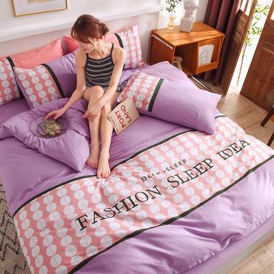 泽西家纺 2021新款40支纯棉全棉波点拼接四件套床单床笠三件套 1.2m床单款三件套 波点香芋紫