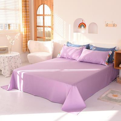 泽西家纺  2021新款40s全棉单床单13372纯棉床单 245cmx245cm单床单 浅紫色