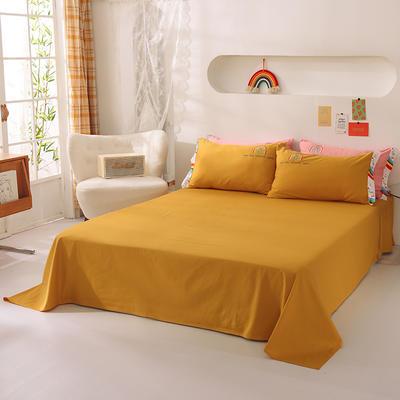 泽西家纺  2021新款40s全棉单床单13372纯棉床单 245cmx245cm单床单 姜黄