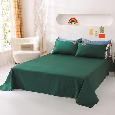 泽西家纺  2021新款40s全棉单床单13372纯棉床单 245cmx245cm单床单 墨绿
