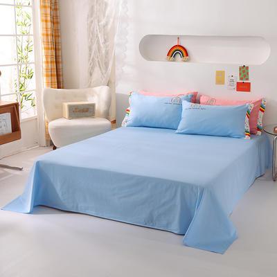 泽西家纺  2021新款40s全棉单床单13372纯棉床单 245cmx245cm单床单 天空蓝
