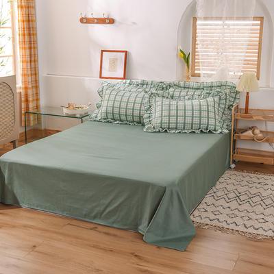 泽西家纺  2021新款40s全棉单床单13372纯棉床单 245cmx245cm单床单 灰绿