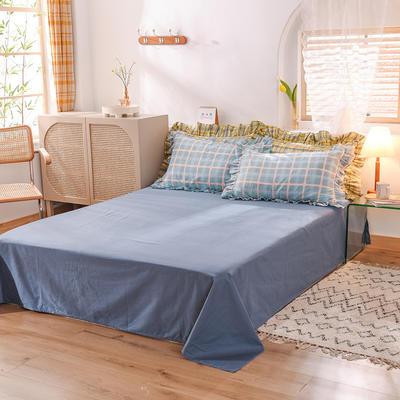 泽西家纺  2021新款40s全棉单床单13372纯棉床单 245cmx245cm单床单 加拉蓝