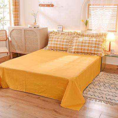 泽西家纺  2021新款40s全棉单床单13372纯棉床单 245cmx245cm单床单 黄色