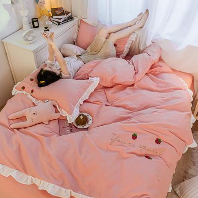 2021新款全棉100少女风刺绣荷叶边纯棉四件套三件套 1.5m床单款四件套 草莓樱花粉