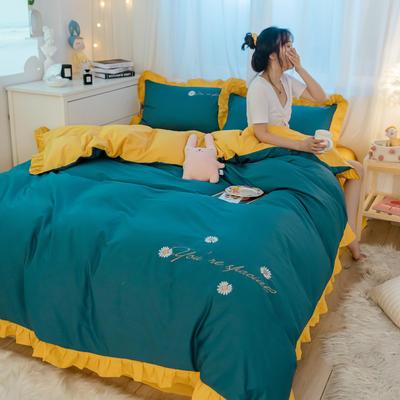 2021新款全棉100少女风刺绣荷叶边纯棉四件套三件套 1.2m床单款三件套 雏菊孔雀蓝