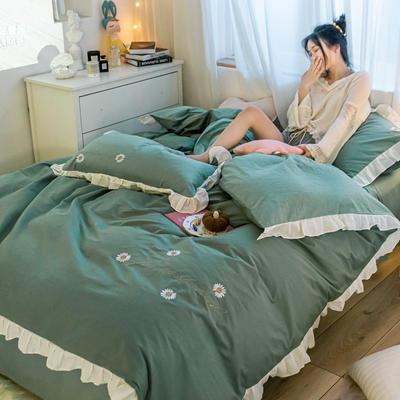2021新款全棉100少女风刺绣荷叶边纯棉四件套三件套 1.2m床单款三件套 雏菊嫩绿