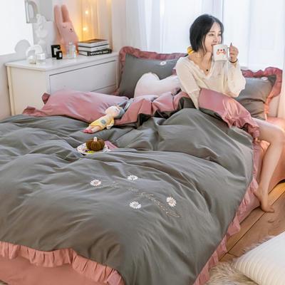 2021新款全棉100少女风刺绣荷叶边纯棉四件套三件套 1.2m床单款三件套 雏菊绅士灰