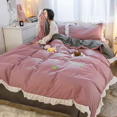 2021新款全棉100少女风刺绣荷叶边纯棉四件套三件套 1.2m床单款三件套 四叶草豆沙