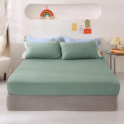 2021新款全棉纯色单床笠 135cmx200cm 灰绿