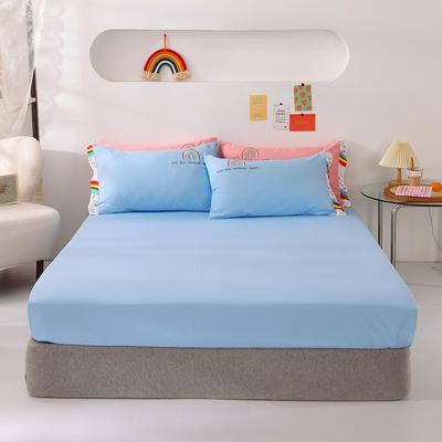 2021新款全棉纯色单床笠 135cmx200cm 天空蓝