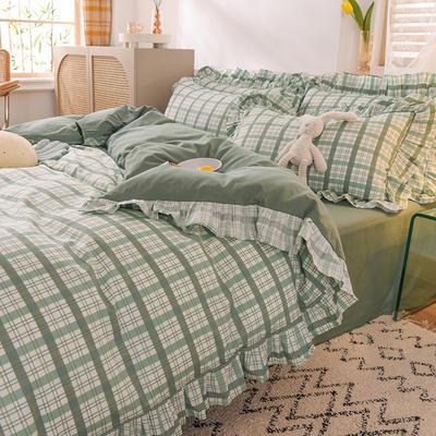 泽西家纺2021新款全棉100韩版格子荷叶边纯棉单被套 200X230cm 布丁绿