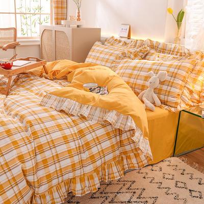 泽西家纺2021新款全棉100韩版格子荷叶边纯棉单被套 200X230cm 柠檬格黄