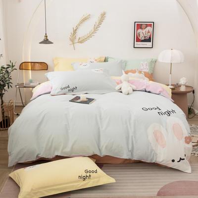2021新款加厚40支全棉水洗棉四件套贴布绣纯棉四件套 1.2m床单款三件套 可爱兔浅蓝
