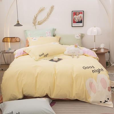 2021新款加厚40支全棉水洗棉四件套贴布绣纯棉四件套 1.2m床单款三件套 可爱兔雅黄