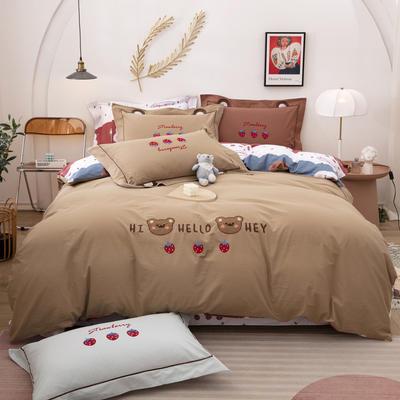 2021新款加厚40支全棉水洗棉四件套贴布绣纯棉四件套 1.2m床单款三件套 可爱熊咖色