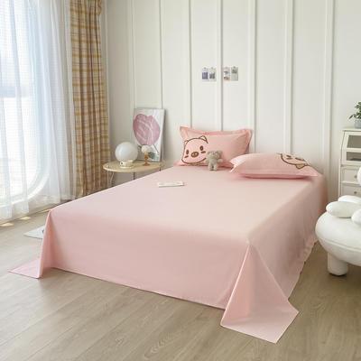 2021新款40支全棉水洗棉加厚单床单 245cmx250cm 粉色