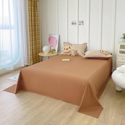 2021新款40支全棉水洗棉加厚单床单 245cmx250cm 焦糖色