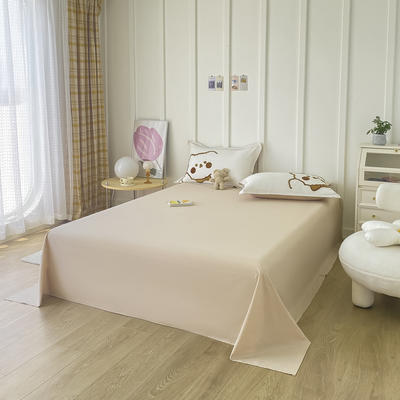 2021新款40支全棉水洗棉加厚单床单 245cmx250cm 卡其