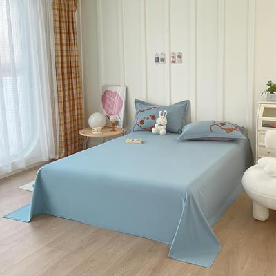 2021新款40支全棉水洗棉加厚单床单 245cmx250cm 蓝色
