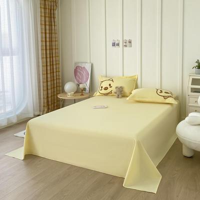 2021新款40支全棉水洗棉加厚单床单 245cmx250cm 嫩黄