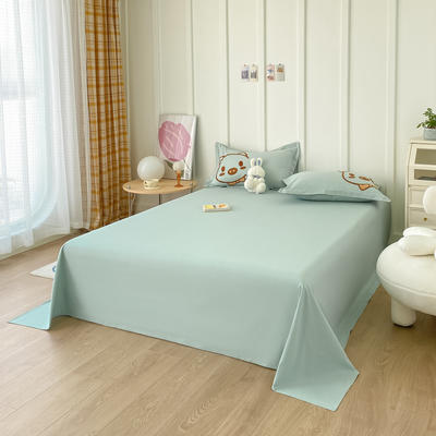 2021新款40支全棉水洗棉加厚单床单 245cmx250cm 嫩绿